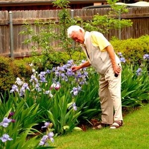 JC Hibbard tending his garden