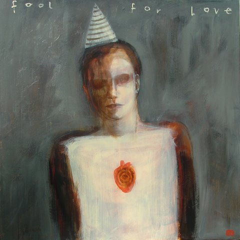 """Fool for Love""  acrylic on canvas  30""x30"""