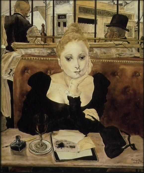 women alone in Paris Cafe
