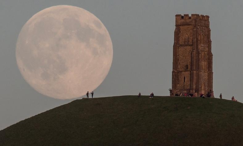 full moon over glastonbury