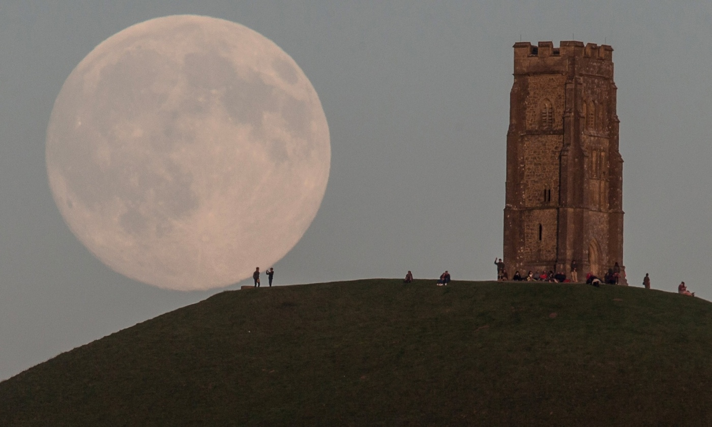 full moon over glastonbury